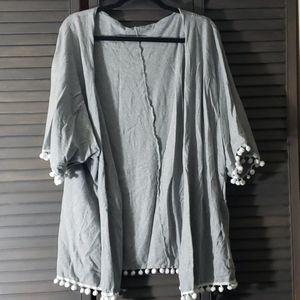 Sweaters - ATUN | Grey Pom Pom Cardigan